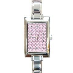 Scales3 White Marble & Pink Glitter (r) Rectangle Italian Charm Watch by trendistuff