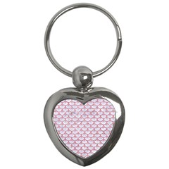 Scales3 White Marble & Pink Glitter (r) Key Chains (heart)  by trendistuff