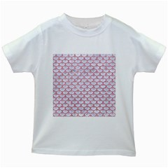 Scales3 White Marble & Pink Glitter (r) Kids White T Shirts by trendistuff