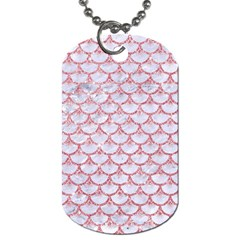 Scales3 White Marble & Pink Glitter (r) Dog Tag (one Side) by trendistuff