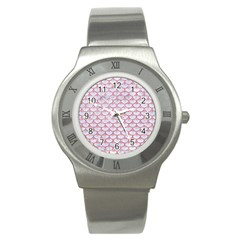 Scales3 White Marble & Pink Glitter (r) Stainless Steel Watch by trendistuff