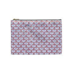 Scales3 White Marble & Pink Glitter (r) Cosmetic Bag (medium)  by trendistuff