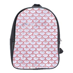 Scales3 White Marble & Pink Glitter (r) School Bag (large) by trendistuff