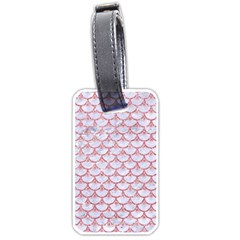 Scales3 White Marble & Pink Glitter (r) Luggage Tags (one Side)  by trendistuff