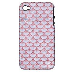Scales3 White Marble & Pink Glitter (r) Apple Iphone 4/4s Hardshell Case (pc+silicone) by trendistuff
