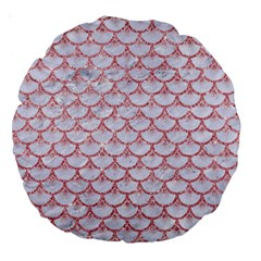 Scales3 White Marble & Pink Glitter (r) Large 18  Premium Round Cushions by trendistuff