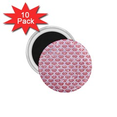 Scales3 White Marble & Pink Glitter 1 75  Magnets (10 Pack)  by trendistuff