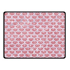 Scales3 White Marble & Pink Glitter Double Sided Fleece Blanket (small)  by trendistuff