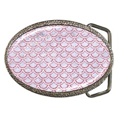 Scales2 White Marble & Pink Glitter (r) Belt Buckles by trendistuff