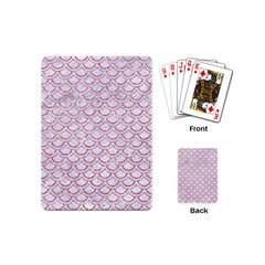 Scales2 White Marble & Pink Glitter (r) Playing Cards (mini)  by trendistuff