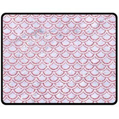 Scales2 White Marble & Pink Glitter (r) Double Sided Fleece Blanket (medium)  by trendistuff