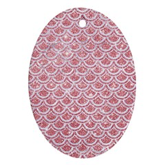 Scales2 White Marble & Pink Glitter Ornament (oval) by trendistuff