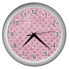 Scales2 White Marble & Pink Glitter Wall Clocks (silver)  by trendistuff