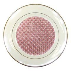 Scales2 White Marble & Pink Glitter Porcelain Plates by trendistuff