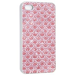 Scales2 White Marble & Pink Glitter Apple Iphone 4/4s Seamless Case (white) by trendistuff