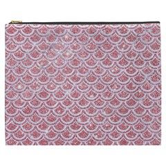 Scales2 White Marble & Pink Glitter Cosmetic Bag (xxxl)  by trendistuff