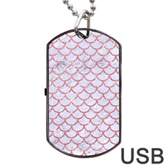 Scales1 White Marble & Pink Glitter (r) Dog Tag Usb Flash (two Sides)