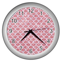 Scales1 White Marble & Pink Glitter Wall Clocks (silver)  by trendistuff