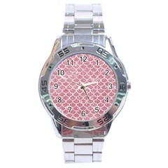 Scales1 White Marble & Pink Glitter Stainless Steel Analogue Watch by trendistuff