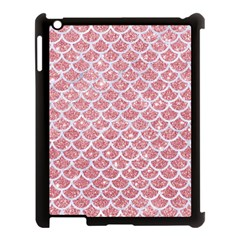 Scales1 White Marble & Pink Glitter Apple Ipad 3/4 Case (black) by trendistuff