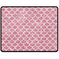 Scales1 White Marble & Pink Glitter Double Sided Fleece Blanket (medium)  by trendistuff