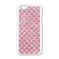 Scales1 White Marble & Pink Glitter Apple Iphone 6/6s White Enamel Case by trendistuff