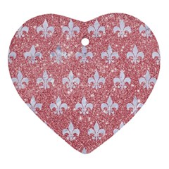 Royal1 White Marble & Pink Glitter (r) Ornament (heart) by trendistuff