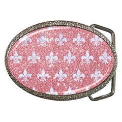 Royal1 White Marble & Pink Glitter (r) Belt Buckles by trendistuff