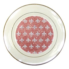 Royal1 White Marble & Pink Glitter (r) Porcelain Plates by trendistuff