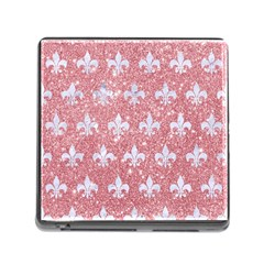 Royal1 White Marble & Pink Glitter (r) Memory Card Reader (square) by trendistuff