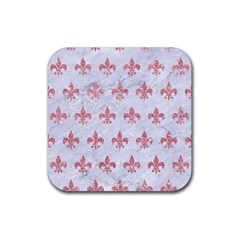 Royal1 White Marble & Pink Glitter Rubber Coaster (square)  by trendistuff
