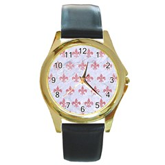 Royal1 White Marble & Pink Glitter Round Gold Metal Watch by trendistuff