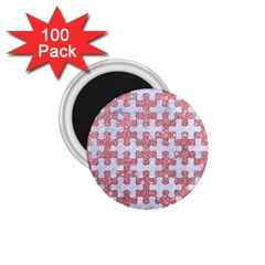 Puzzle1 White Marble & Pink Glitter 1 75  Magnets (100 Pack)  by trendistuff