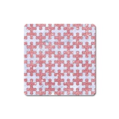 Puzzle1 White Marble & Pink Glitter Square Magnet by trendistuff