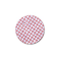 Houndstooth2 White Marble & Pink Glitter Golf Ball Marker by trendistuff