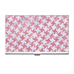 Houndstooth2 White Marble & Pink Glitter Business Card Holders by trendistuff