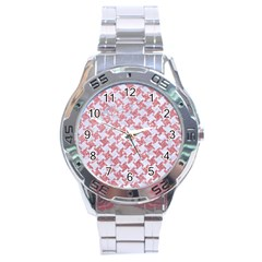 Houndstooth2 White Marble & Pink Glitter Stainless Steel Analogue Watch by trendistuff