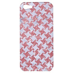 Houndstooth2 White Marble & Pink Glitter Apple Iphone 5 Hardshell Case by trendistuff