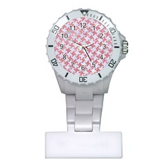 Houndstooth2 White Marble & Pink Glitter Plastic Nurses Watch by trendistuff