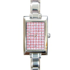 Houndstooth1 White Marble & Pink Glitter Rectangle Italian Charm Watch by trendistuff
