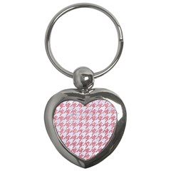 Houndstooth1 White Marble & Pink Glitter Key Chains (heart)  by trendistuff