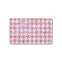 Houndstooth1 White Marble & Pink Glitter Magnet (name Card) by trendistuff