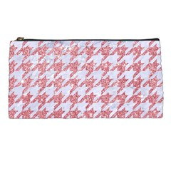 Houndstooth1 White Marble & Pink Glitter Pencil Cases by trendistuff