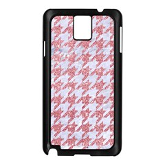 Houndstooth1 White Marble & Pink Glitter Samsung Galaxy Note 3 N9005 Case (black) by trendistuff