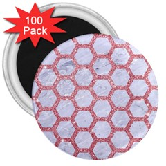 Hexagon2 White Marble & Pink Glitter (r) 3  Magnets (100 Pack)