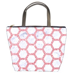 Hexagon2 White Marble & Pink Glitter (r) Bucket Bags by trendistuff