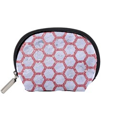 Hexagon2 White Marble & Pink Glitter (r) Accessory Pouches (small)  by trendistuff