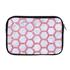 Hexagon2 White Marble & Pink Glitter (r) Apple Macbook Pro 17  Zipper Case by trendistuff