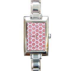 Hexagon2 White Marble & Pink Glitter Rectangle Italian Charm Watch by trendistuff