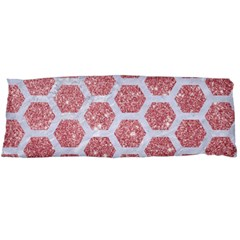 Hexagon2 White Marble & Pink Glitter Body Pillow Case Dakimakura (two Sides) by trendistuff